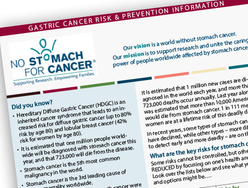 Stomach Cancer Risk and Prevention Flyer 2015